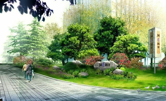 园林灌木手绘平面图